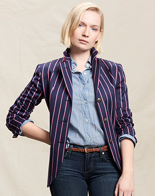 Louise Jacket Navy/Pink Blazer Stripe