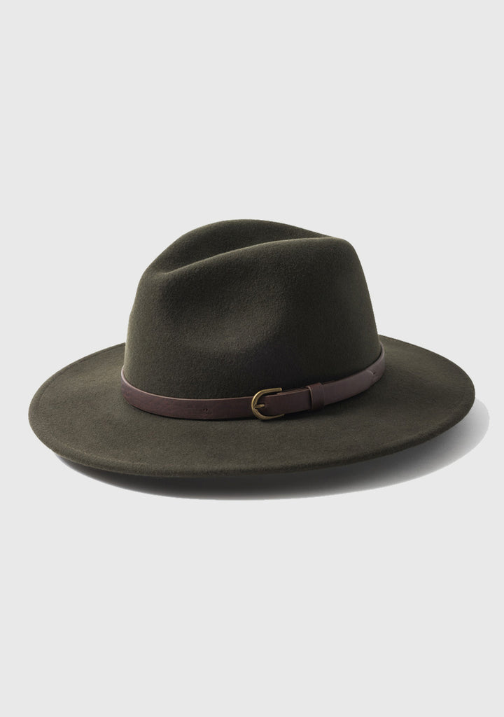 Wool Felt Fedora - Green