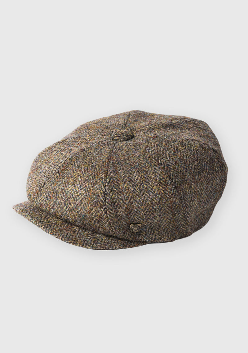 Harris Tweed Baker Boy Hat - Brown