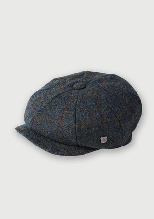 Harris Tweed Baker Boy Hat - Blue Multi