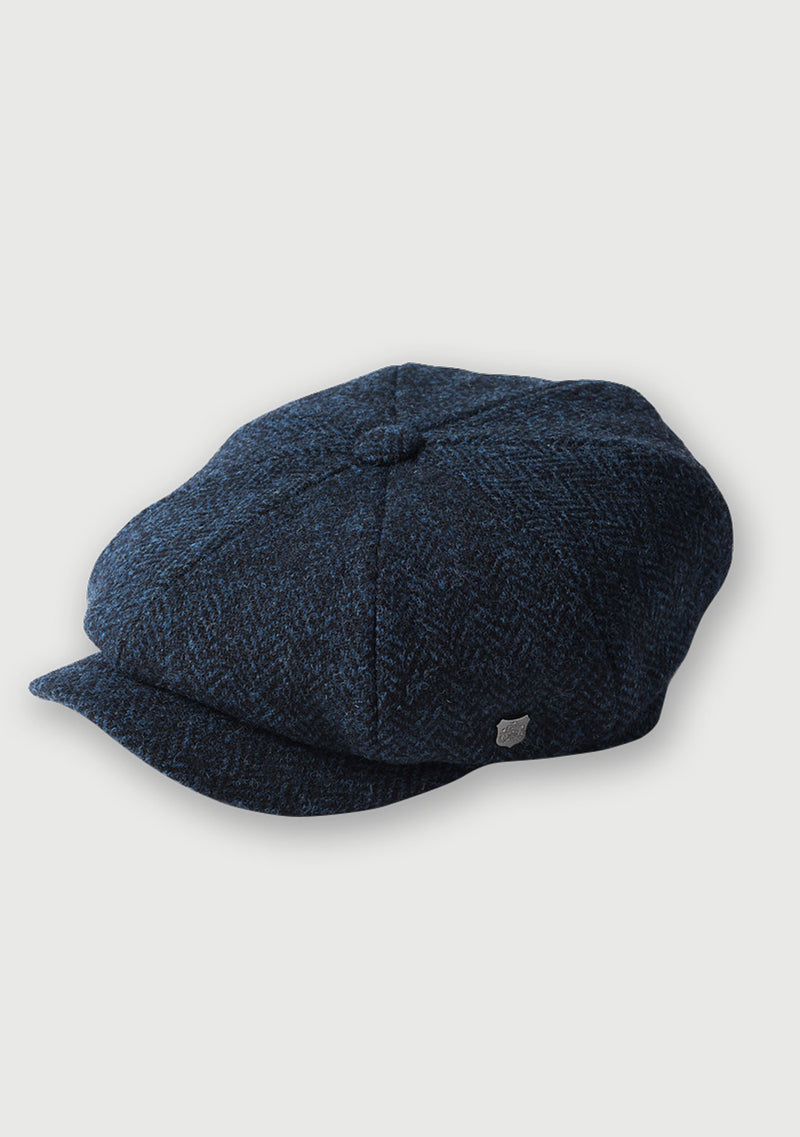 Harris Tweed Baker Boy Hat - Navy