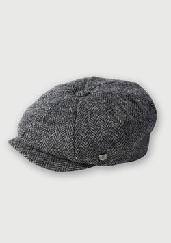 Harris Tweed Baker Boy Hat - Charcoal