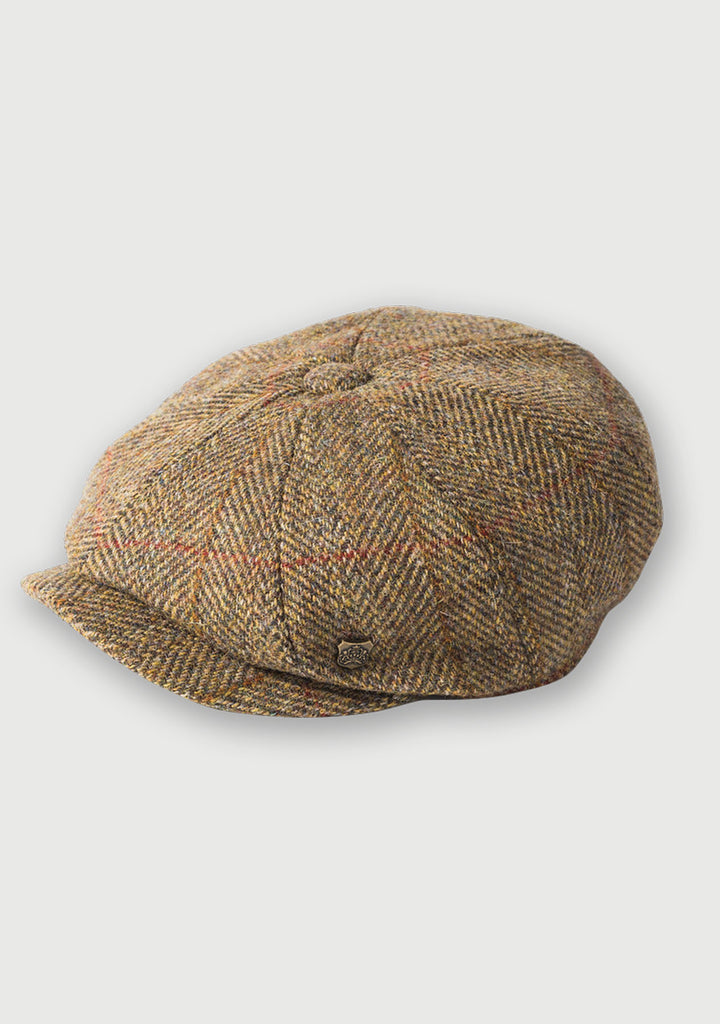 Harris Tweed Baker Boy Hat - Mustard