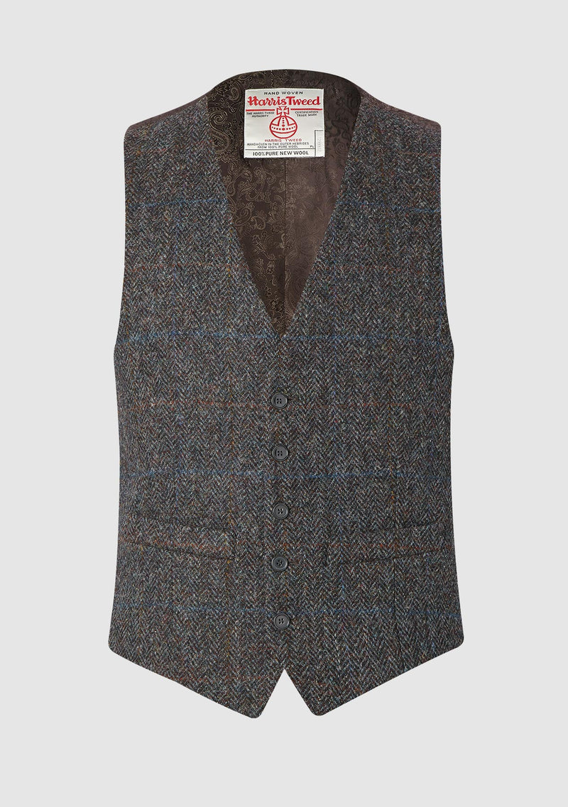 Iain Waistcoat - Brown Mix Herringbone Check