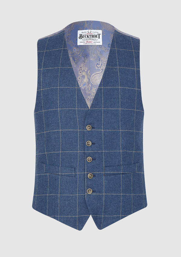 Iain Summer Waistcoat - Light Blue Check
