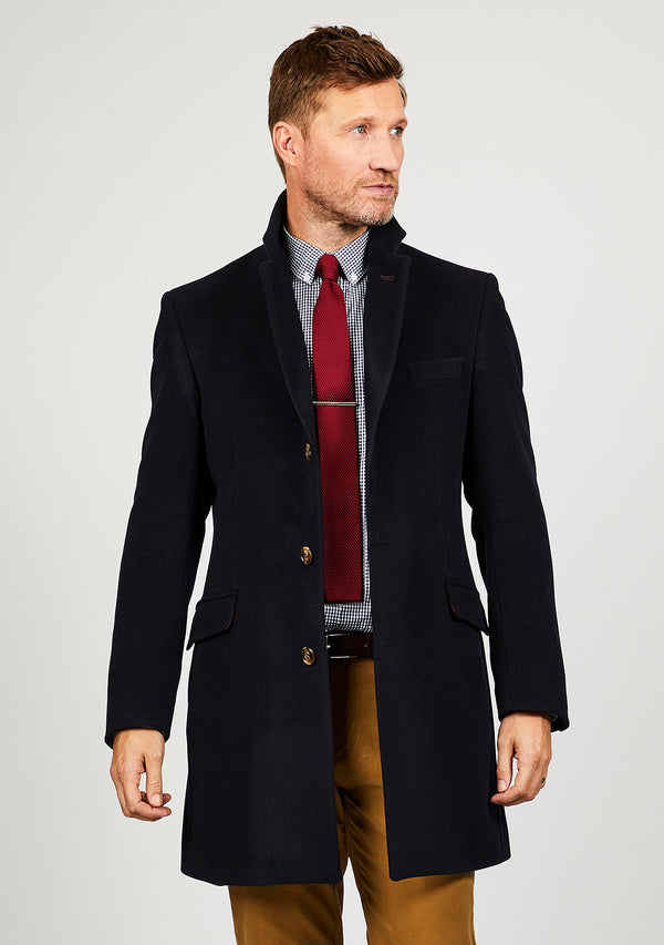 Murdo ¾ Coat - Navy Wool/Cashmere