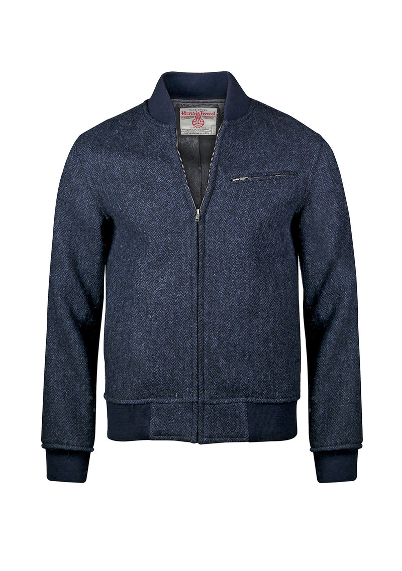 Joe Baseball Jacket - Navy Herringbone