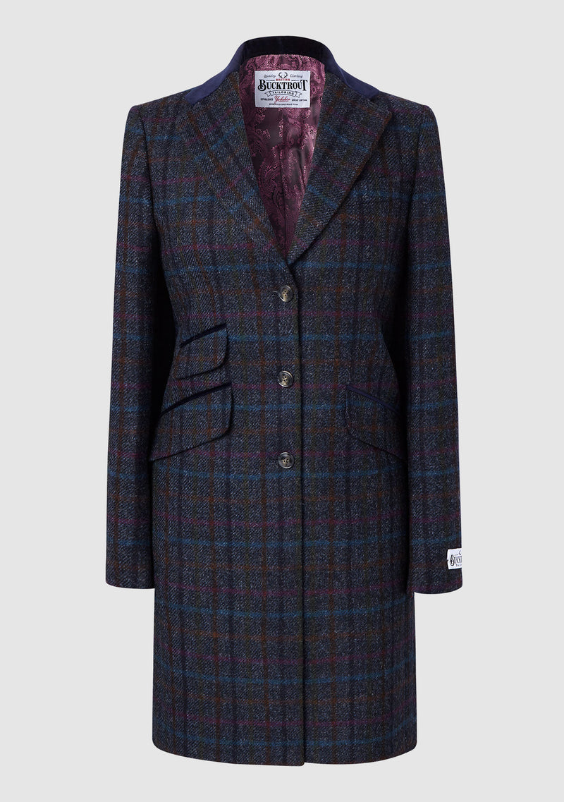 Tori ¾ Coat - Navy Multi Check