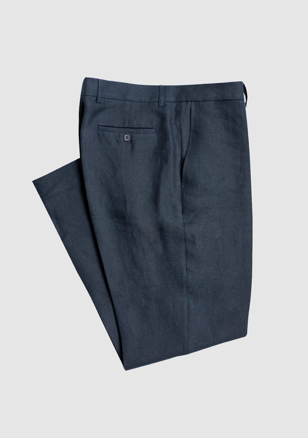 Mens Linen Trousers - Navy