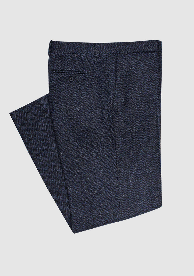 Mens Tweed Trousers - Navy Herringbone