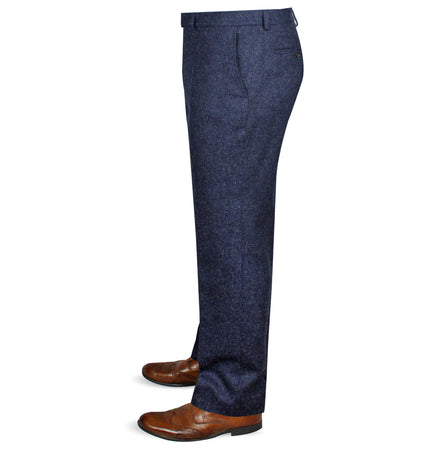 Mens Tweed Trousers - Blue