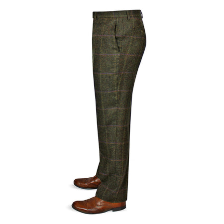 Mens Tweed Trousers - Green