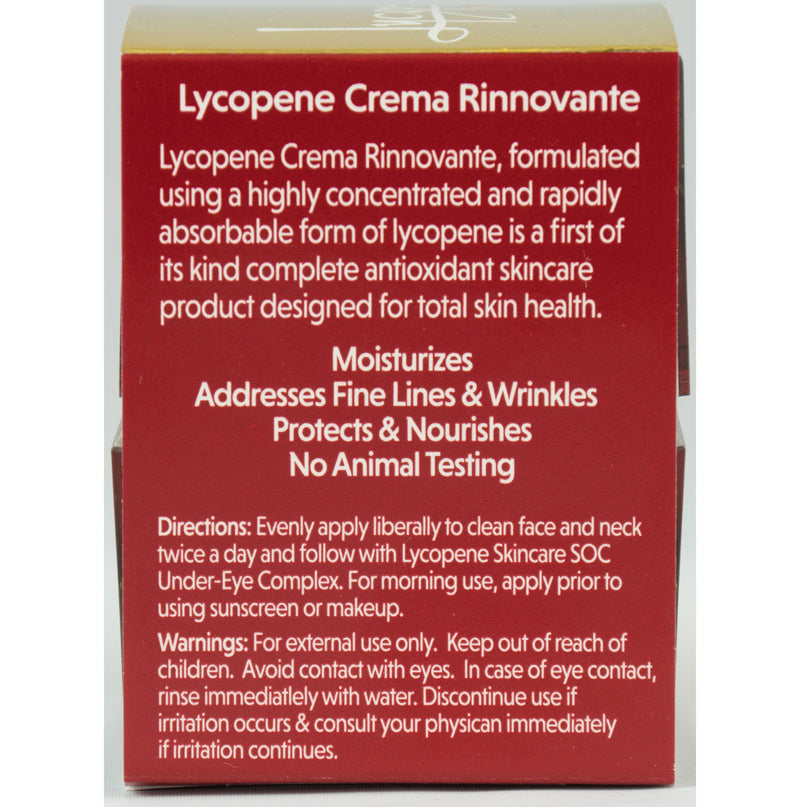 Lycopene Crema Rinnovante - Anti-Aging Cream, European Fashion Models Favorite with Astaxanthin, Hyaluronic Acid, Acmella Oleracea, Italian Formula with 20 Natural Organic Botanicals - Lycopene Skin Care
