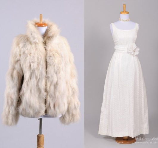 Vintage Wedding Dress with fur coat