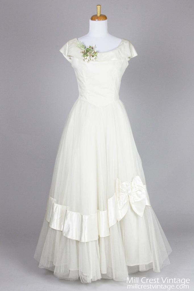 1950 Ivory Satin and Tulle Vintage Wedding Gown - Mill Crest Vintage
