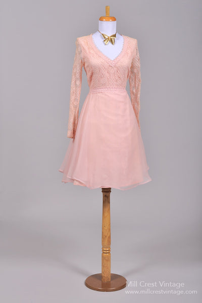 1970 Pink Afternoon Vintage Wedding Dress-Mill Crest Vintage
