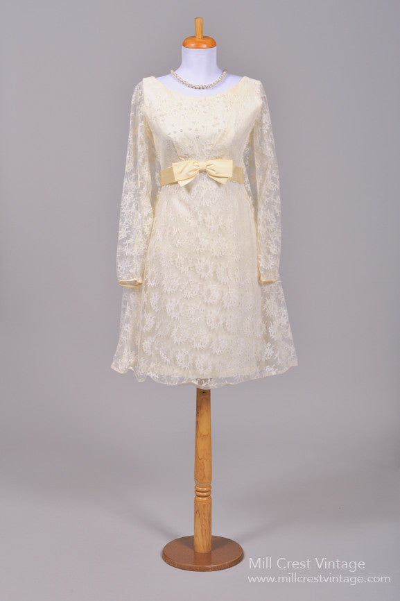 1960 Lace Trapeze Vintage Wedding Dress-Mill Crest Vintage