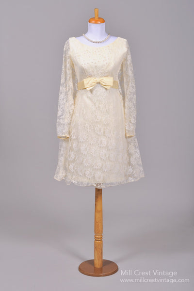 1960 Lace Trapeze Vintage Wedding Dress - Mill Crest Vintage