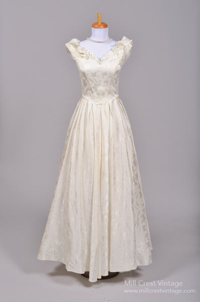 1970 Satin Damask Vintage Wedding Gown-Mill Crest Vintage