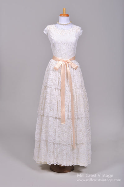 1960 Pearl Flower Vintage Wedding Gown - Mill Crest Vintage