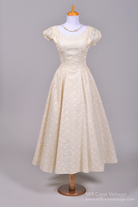 1940 Embroidered Tea Length Vintage Wedding Dress