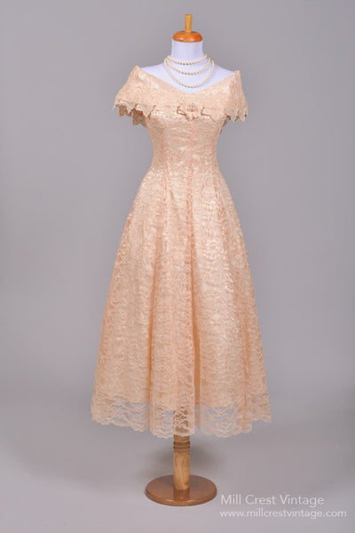 1970 Peach Lace Vintage Wedding Dress-Mill Crest Vintage