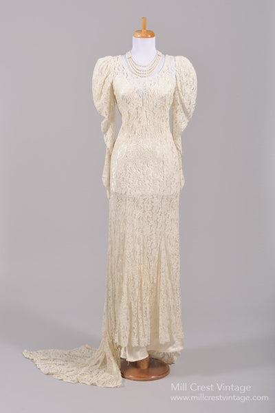 1940 Lace Vintage Wedding Gown - Mill Crest Vintage