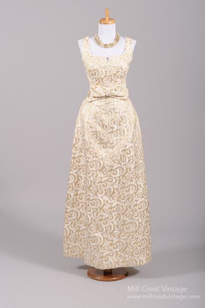 1960 Metallic Brocade Vintage Wedding Gown-Mill Crest Vintage