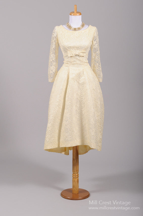 1960 Asymmetrical Lace Vintage Wedding Dress-Mill Crest Vintage