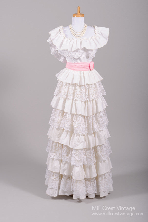 1970 Peasant Ruffled Vintage Wedding Gown - Mill Crest Vintage