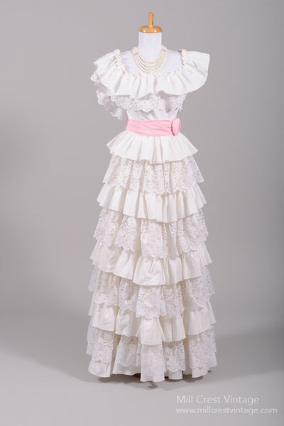 1970 Peasant Ruffled Vintage Wedding Gown-Mill Crest Vintage
