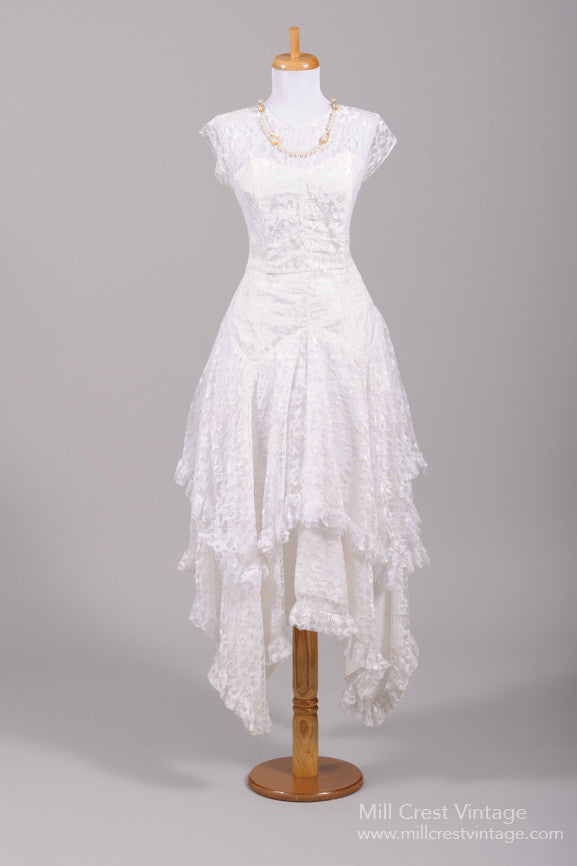 1970 Asymmetrical Lace Vintage Wedding Dress-Mill Crest Vintage