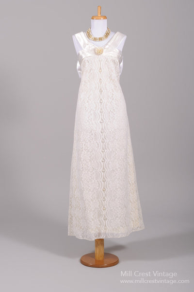 1970 Lace And Satin Vintage Wedding Gown-Mill Crest Vintage