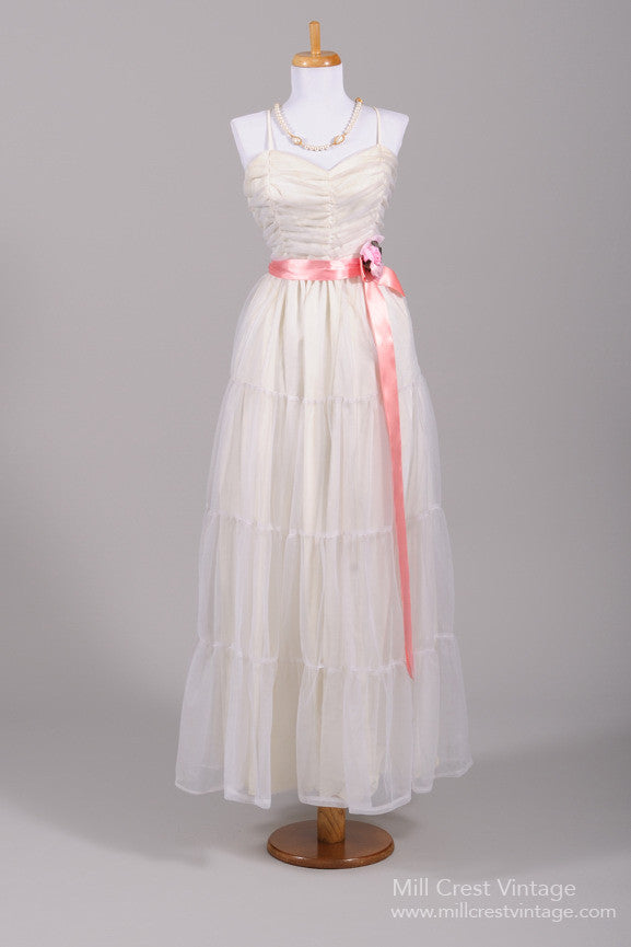 1970 Chiffon Peasant Vintage Wedding Gown - Mill Crest Vintage