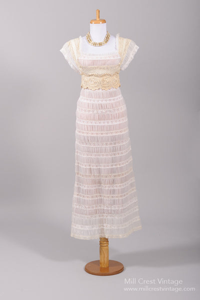 1970 French Lace Vintage Wedding Gown - Mill Crest Vintage