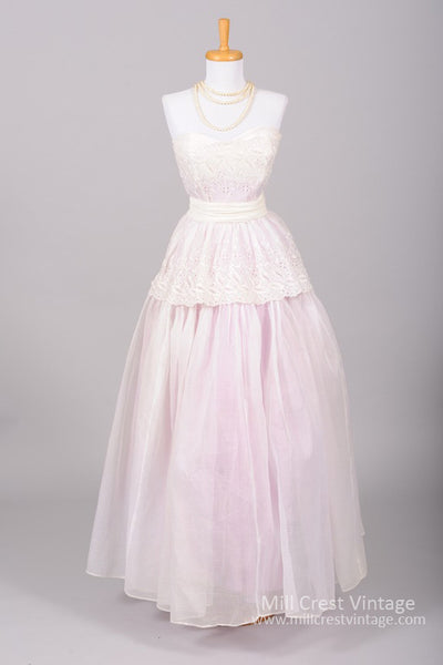1950 Lavender Organdy Vintage Wedding Gown - Mill Crest Vintage