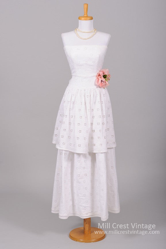 1970 French Eyelet Vintage Wedding Gown - Mill Crest Vintage