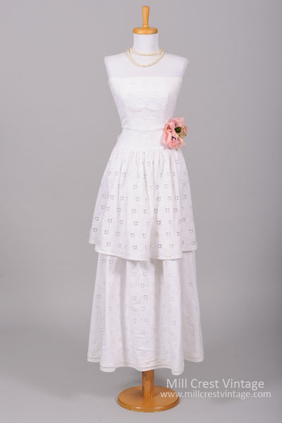 1970 French Eyelet Vintage Wedding Gown-Mill Crest Vintage