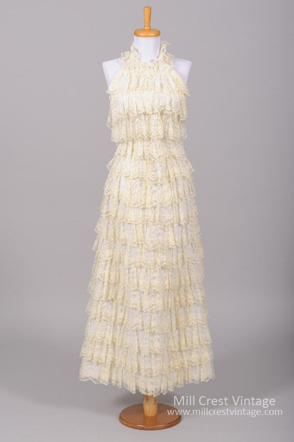 1970 Ruffle Tiered Lace Vintage Wedding Gown-Mill Crest Vintage
