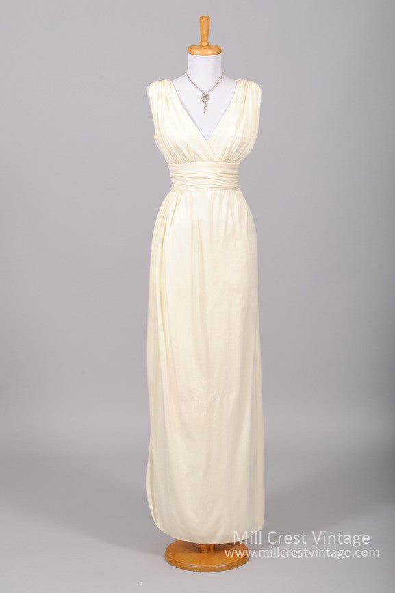 1970 Semi Wrap Vintage Wedding Gown - Mill Crest Vintage