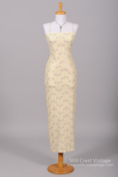 1970 Silver Flower Vintage Wedding Gown-Mill Crest Vintage