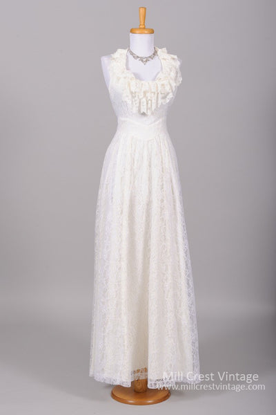 1970 Halter Style Lace Vintage Wedding Gown - Mill Crest Vintage