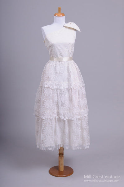 1970 Floral Lace Vintage Wedding Dress - Mill Crest Vintage