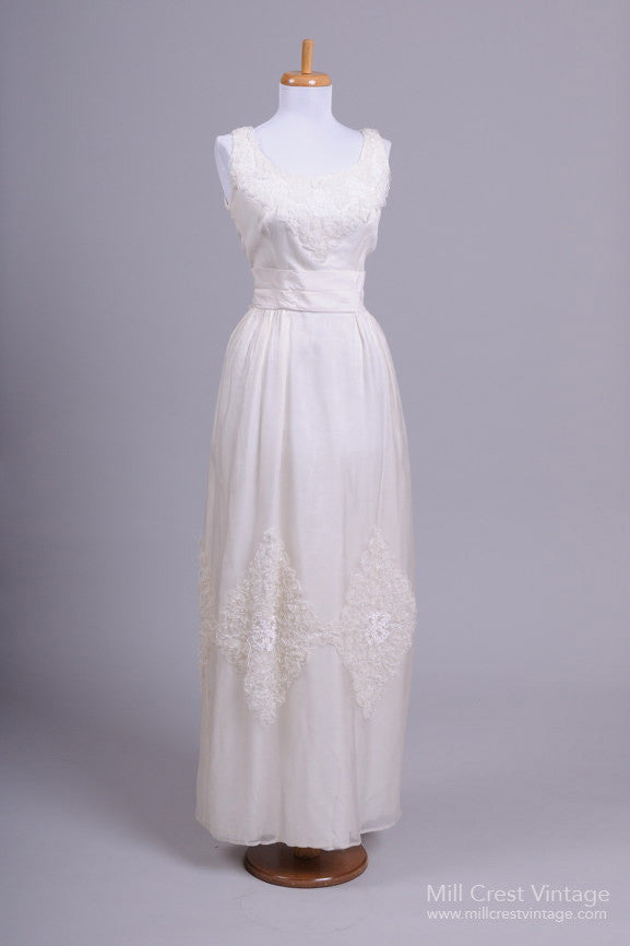 1970 Ribbon Vintage Wedding Gown - Mill Crest Vintage