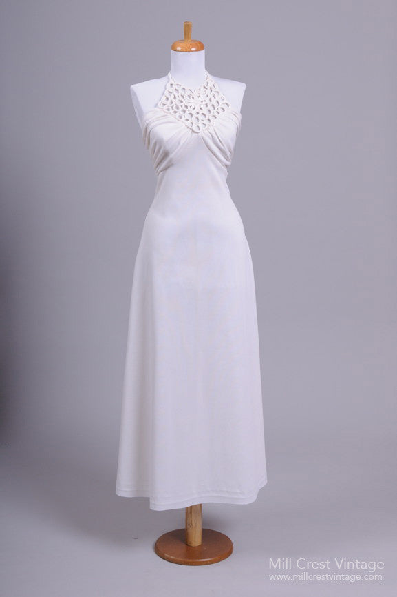 1970 Halter Vintage Wedding Gown - Mill Crest Vintage