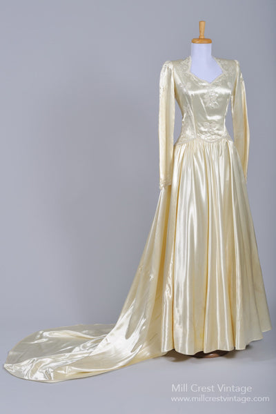 1940 Liquid Silk Vintage Wedding Gown - Mill Crest Vintage