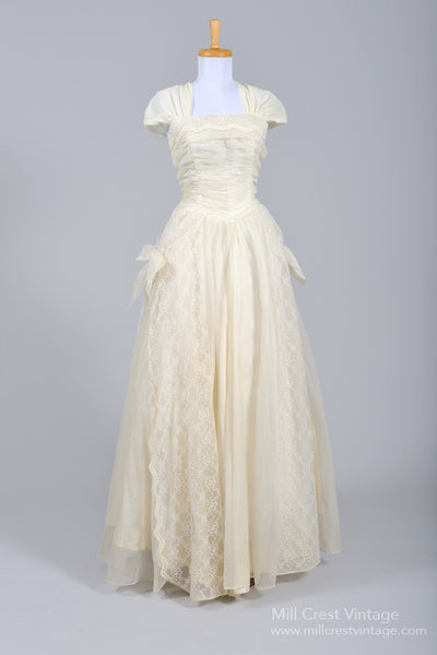 1950 Ecru Lace Vintage Wedding Gown - Mill Crest Vintage