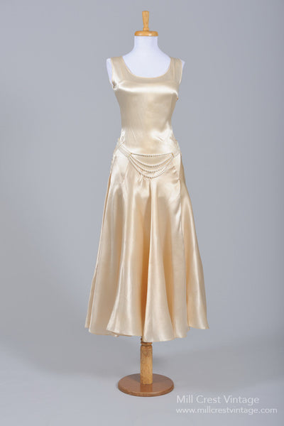 1930 Champagne Satin Vintage Wedding Dress-Mill Crest Vintage