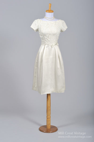 1960 Satin Lace Vintage Wedding Dress - Mill Crest Vintage