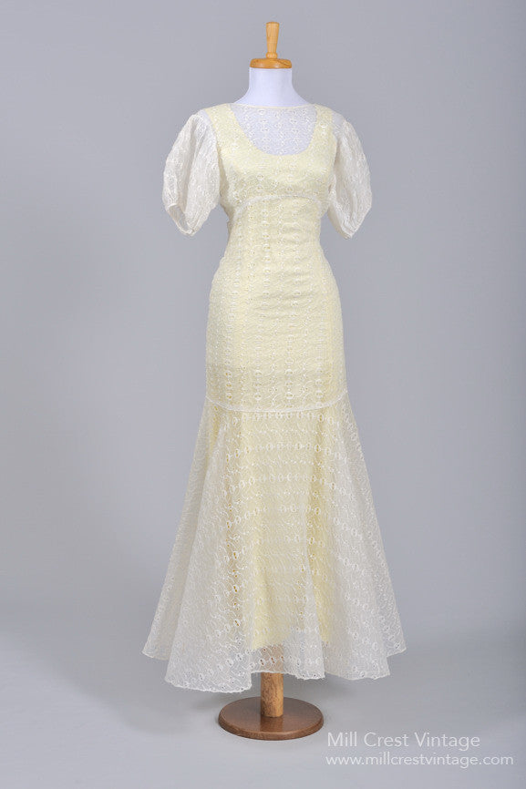 1940 Organdy Eyelet Vintage Wedding Gown-Mill Crest Vintage